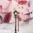 Stock Photo: Painting city street romantic light in pink.