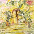 Painting on silk. Garden gates with stairs and flowers. — Stock Photo