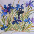 Blue Irises flowers painting on silk. — Zdjęcie stockowe