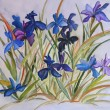 Blue Irises flowers painting on silk. — Stock fotografie