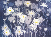 Background abstract painting with chamomile flowers. — Stock Photo