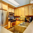 Royalty-Free Stock Photo: Modern apartment wood kitchen interior.