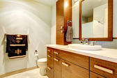 Classic bathroom interior with modern cabinets. — Stock Photo