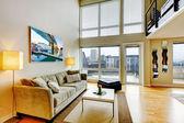 Modern loft apartment living room interior. — Stock Photo