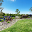 Backyard beautiful spring landscape with fence and forest. — Stock Photo #20330703