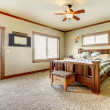 Natural cabin farm house bedroom with beige carpet and green walls. — Stock Photo #20332089