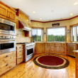Wood luxury home kitchen interior. New Farm American home. — Stock Photo