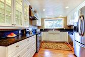 Interno di cucina bianca con ampio lavandino e finestra. — Foto Stock