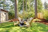 Home exterior Backyard with chairs and pine trees. — Stock Photo