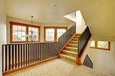 Staircase with metal railing. New luxury home interior. — Stock Photo