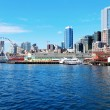 Seattle waterfront Pier 55 and 54. Downtown view from ferry. — Stock Photo #22343749