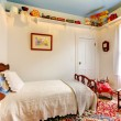 Classic antique American baby boy room with old toys. — Stock Photo