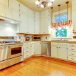 Large white kitchen in an old AMerican house. — Stock Photo