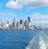Seattle waterfront Pier 55 and 54. Downtown view from ferry. — Stock Photo