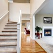 Classic home interior with living room and staircase. — Stock Photo