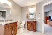 Krásná šedá nové moderní koupelny interiér. — Stock fotografie