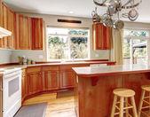 Classic large wood kitchen interior with hardwood floor. — Stock Photo