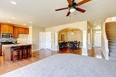 New home kitchen interior with dark brown cabinets. — Zdjęcie stockowe