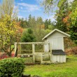 Farm house chicken coop wiwth covered outdoor area. — Stock Photo