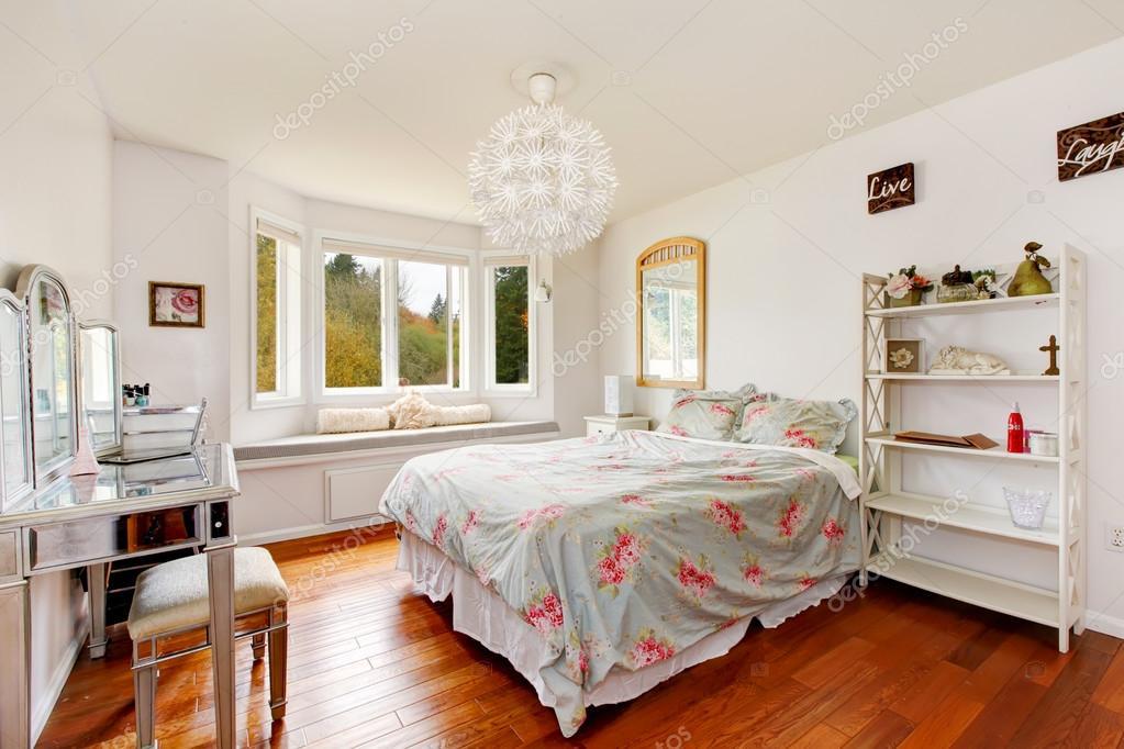 white walls teenage girl bedroom interior stock photo
