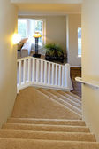 Stairway with white railings — Stock Photo