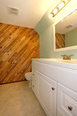 Light tones bathroom with a wooden panel wall — Stok fotoğraf