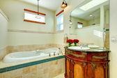 Elegant modern bathroom with an antique wooden storage cabinet — Foto de Stock