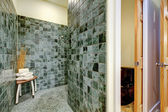 Great shower solution. Green tile floor and walls — Stock Photo