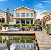 Backyard view from dock — Stock Photo