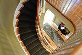 Wooden spiril staircase — Stock Photo
