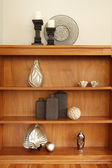 Wonderfully decorated wood shelf — Stok fotoğraf