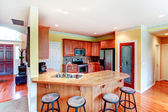 Small yellow and brown kitchen room — Stock Photo
