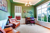 Charming green living room with piano — Stock Photo