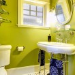 Bright neon green bathroom — Stock Photo