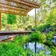 Picturesque backyard farm garden with small pond and patio area — Stock Photo #40037429