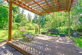 Stunning view from backyard farm pergola — Stock Photo