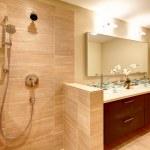 Elegant warm tones bathroom — Stock Photo