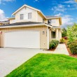 Backyard with garage and picturesque curb appeal — Stock Photo #40183581
