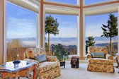 Amazing rich interior with stunning window view on mountains — Stock Photo