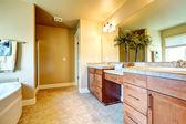 Zachte kleuren gezellige badkamer met decoratieve boom — Stockfoto