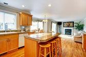 öppna design idé för vardagsrum och ett kök med matplats — Stockfoto