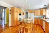 Bright light brown kitchen room — Stock Photo