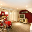 Stock Photo: White and red rehearsal basement room