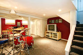 White and red rehearsal basement room — Stok fotoğraf