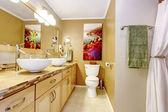 Modern bathroom with white vessel sinks — Stock Photo