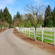 Horse farm drive way — Stock Photo