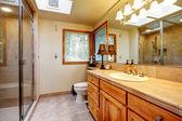 Warm cozy bathroom with windows — Stock Photo