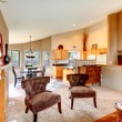 Open plan design for kitchen with dining area and living room — Zdjęcie stockowe