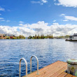 View of the bay and city from dock — Stock Photo