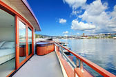 View of walkout deck of boat house. Lake Washington — Stock Photo